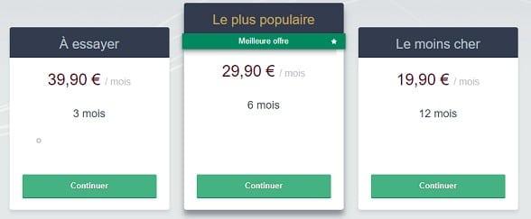 Le prix de l'abonnement basique de BE2